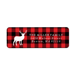 Red Plaid and White Stag | Holiday Label
