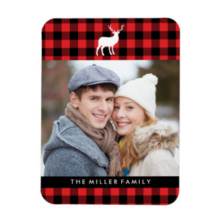 Red Plaid and White Stag | Holiday Rectangular Photo Magnet