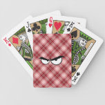 Red Plaid Angry Eyes Bicycle Playing Cards
