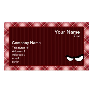 Red Plaid Angry Eyes Double-Sided Standard Business Cards (Pack Of 100)