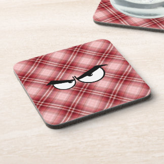 Red Plaid Angry Eyes Coaster