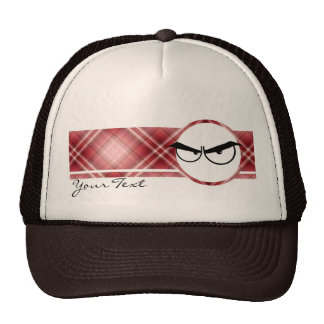Red Plaid Angry Eyes Trucker Hat