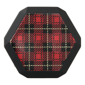 Red Plaid Background Black Bluetooth Speaker