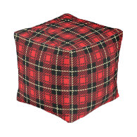 Red Plaid Background Cube Pouf