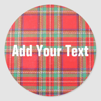 Red Plaid Background for Custom Text Classic Round Sticker