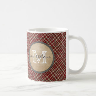 Red Plaid Background monogram Coffee Mug