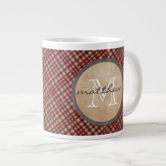 Red Plaid Background monogram Giant Coffee Mug