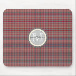 Red Plaid Background monogram Mouse Pads