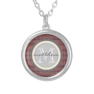 Red Plaid Background monogram Round Pendant Necklace