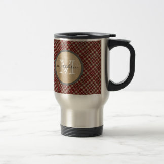 Red Plaid Background monogram Travel Mug