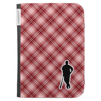 Red Plaid Baseball Player Kindle Folio Cases