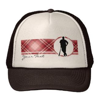 Red Plaid Baseball Player Trucker Hat