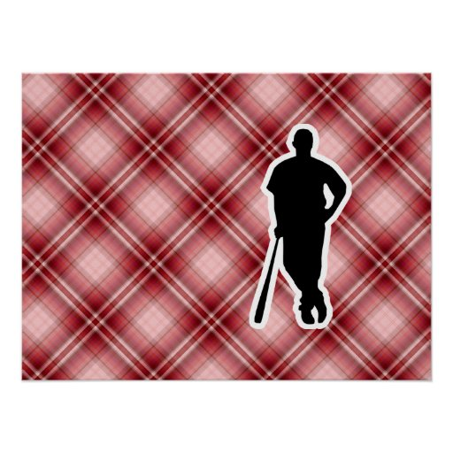 Red Plaid Baseball Player Posters