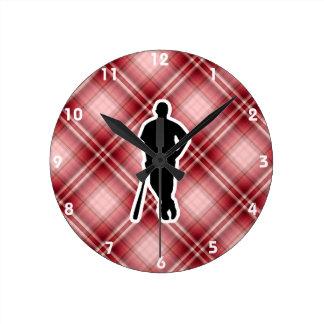 Red Plaid Baseball Player Round Clock