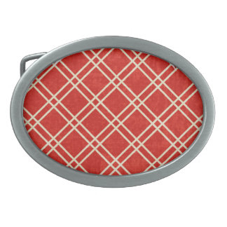 Red Plaid Belt Buckle