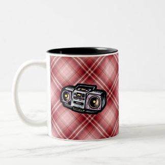 Red Plaid Boombox Two-Tone Coffee Mug