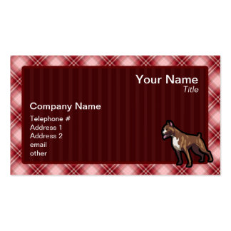 Red Plaid Boxer Double-Sided Standard Business Cards (Pack Of 100)