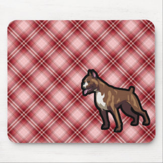 Red Plaid Boxer Mouse Pad