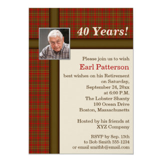 Red Plaid, Brown and Beige Retirement Invitation
