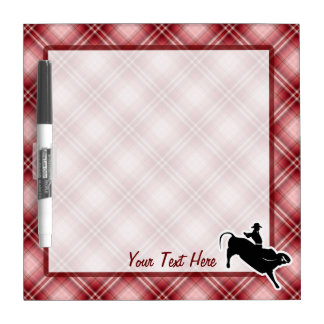 Red Plaid Bull Rider Dry Erase Boards