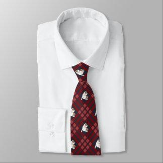 Red Plaid Bulldog Neck Tie