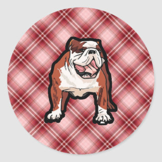 Red Plaid Bulldog Stickers