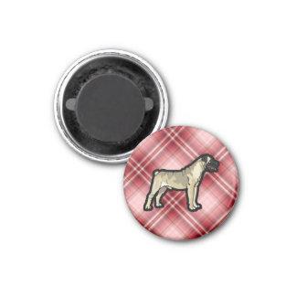 Red Plaid Bullmastiff 1 Inch Round Magnet