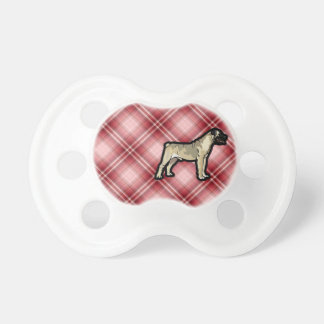 Red Plaid Bullmastiff Pacifier