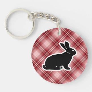 Red Plaid Bunny Round Acrylic Key Chain