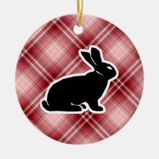 Red Plaid Bunny Christmas Ornaments