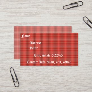 Red Plaid Business Card