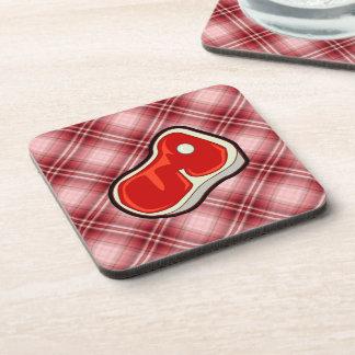 Red Plaid Butcher s Steak Beverage Coaster