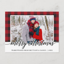 Red Plaid Calligraphy Couple Merry Christmas Postcard