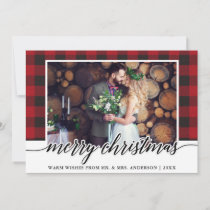 Red Plaid Calligraphy Wedding Merry Christmas Holiday Card