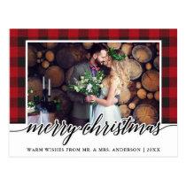 Red Plaid Calligraphy Wedding Merry Christmas Postcard