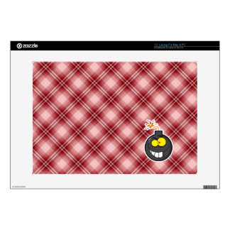 Red Plaid Cartoon Bomb Laptop Decals
