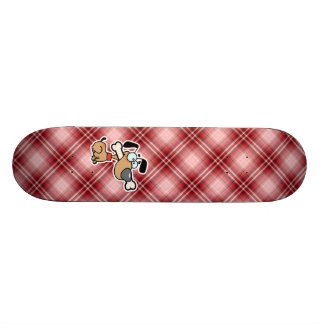 Red Plaid Cartoon Dog Custom Skateboard