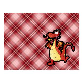 Red Plaid Cartoon Dragon Postcard