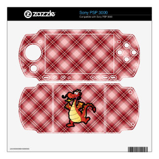 Red Plaid Cartoon Dragon Decals For The PSP 3000