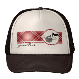 Red Plaid Cartoon Music Note Trucker Hat