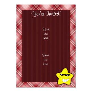 Red Plaid Cartoon Star Card