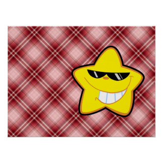 Red Plaid Cartoon Star Posters