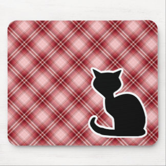 Red Plaid Cat Mouse Pads