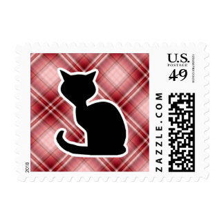 Red Plaid Cat Postage Stamps