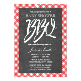 Red Plaid & Chalkboard Baby Shower BBQ Party Card