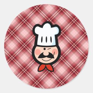 Red Plaid Chef Classic Round Sticker