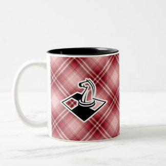 Red Plaid Chess Two-Tone Coffee Mug