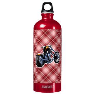 Red Plaid Chopper Aluminum Water Bottle