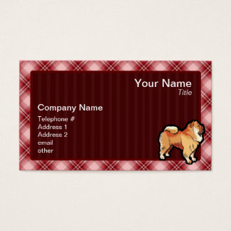 Red Plaid Chow Chow Business Card