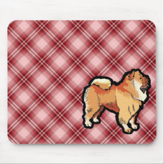 Red Plaid Chow Chow Mouse Pads